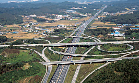 Gyeongbu Expressway. Korea's first national expressway connecting Seoul and Busan was opened in 1970.