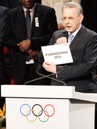 2018 Pyeongchang Winter Olympics. IOC President Jacques Rogge announces Pyeongchang as the Host City for the 2018 Olympic Winter Games.