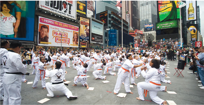 A Taekwondo demonstration in Times Square, New York