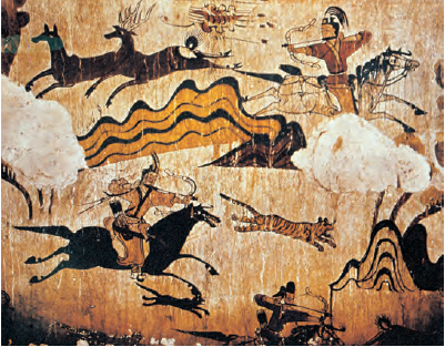 A painting of hunting scenes in the Tomb of the Dancers (5th century, Goguryeo Kingdom). Dynamic hunting activities of the people of Goguryeo (37 BCE-668 CE)