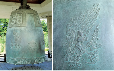 Sacred Bell of Great King Seongdeok (Unified Silla, 8th Century). Weighing 18.9 tons, this is the largest bell in the country. It is also called the Emille Bell. The Flying Apsaras in the picture on the right displays the exquisite decorative skills of Silla.